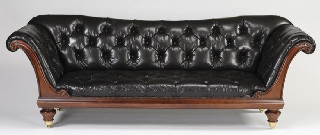 "Baker black leather 'Chatsworth' sofa, 104""w"