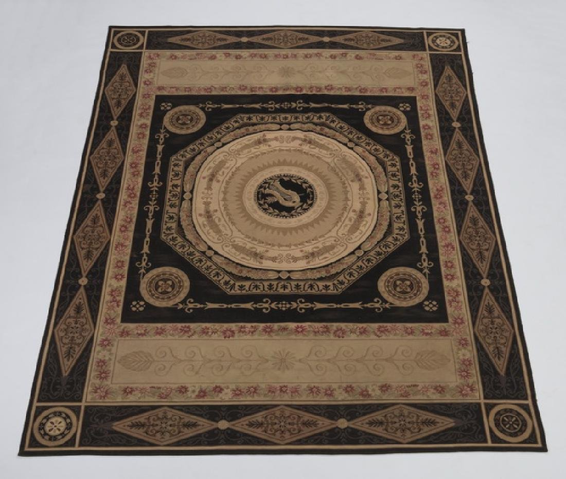 Hand woven Aubusson style rug, 12 x 14