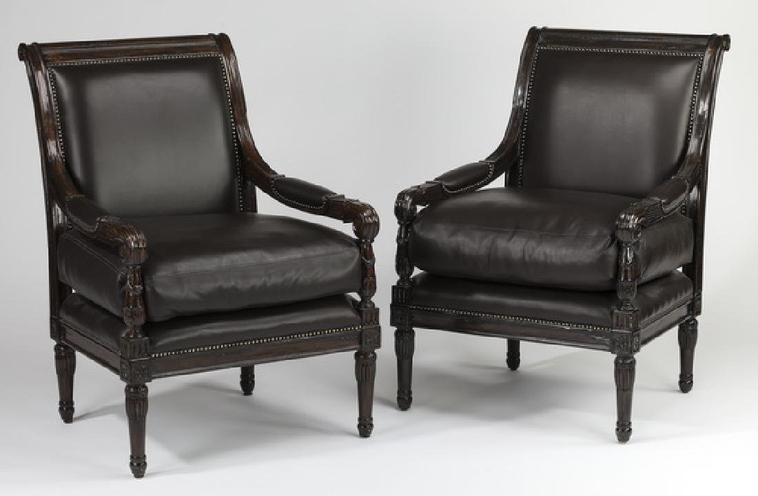 (2) Marge Carson leather armchairs