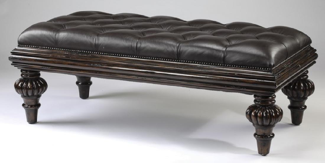 "Marge Carson button-tufted leather top bench, 56""w"