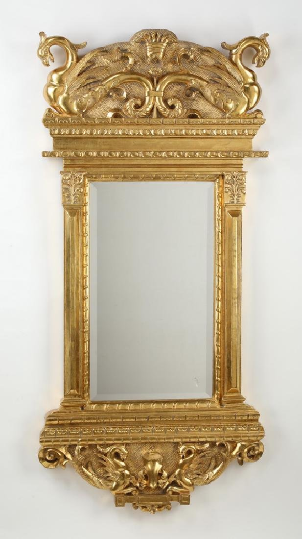 "Baroque style carved & gilt mirror with gryphons 61""h"