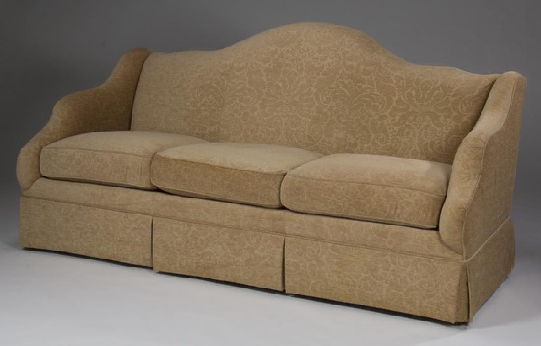 "Custom designed three seat camel-back sofa, 79""l"