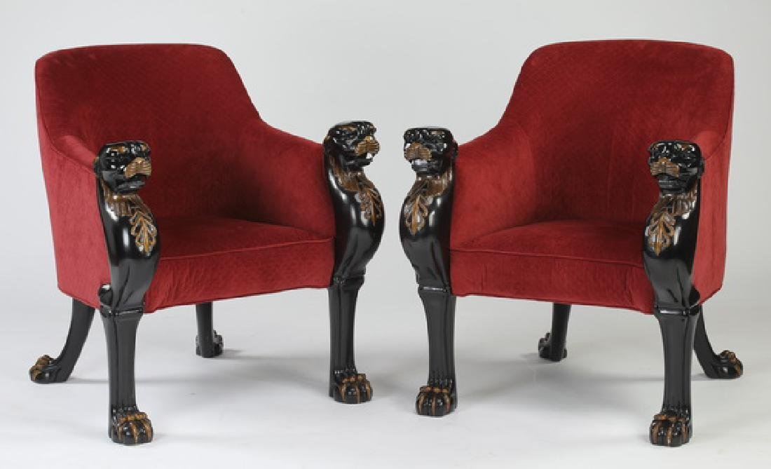 (2) Baker Furniture figural ebonized bergeres