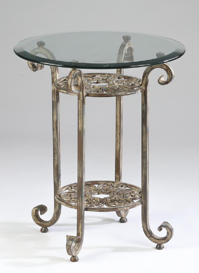 Contemporary wrought iron and glass side table