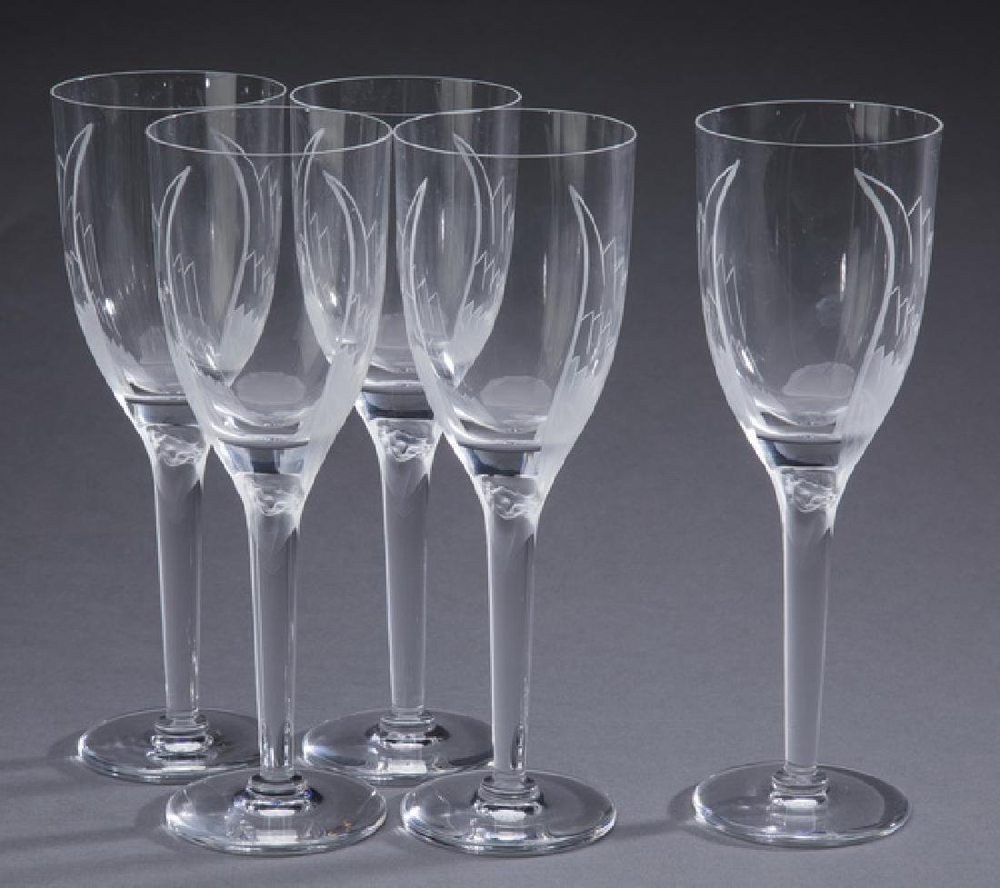 "(5) pcs Lalique crystal 'Angel' wine glasses, 8""h"