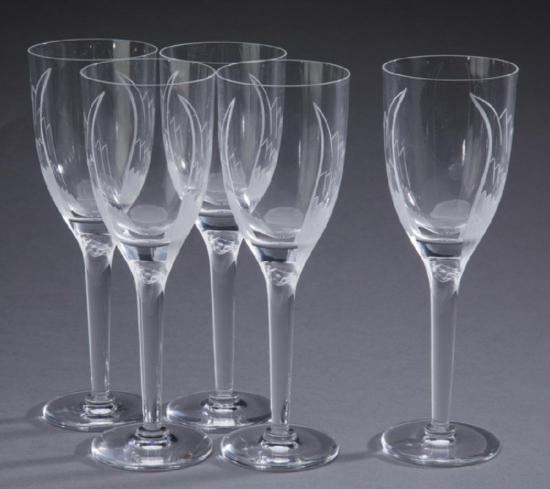 "(5) pcs Lalique crystal 'Angel' wine glasses, 8""h"