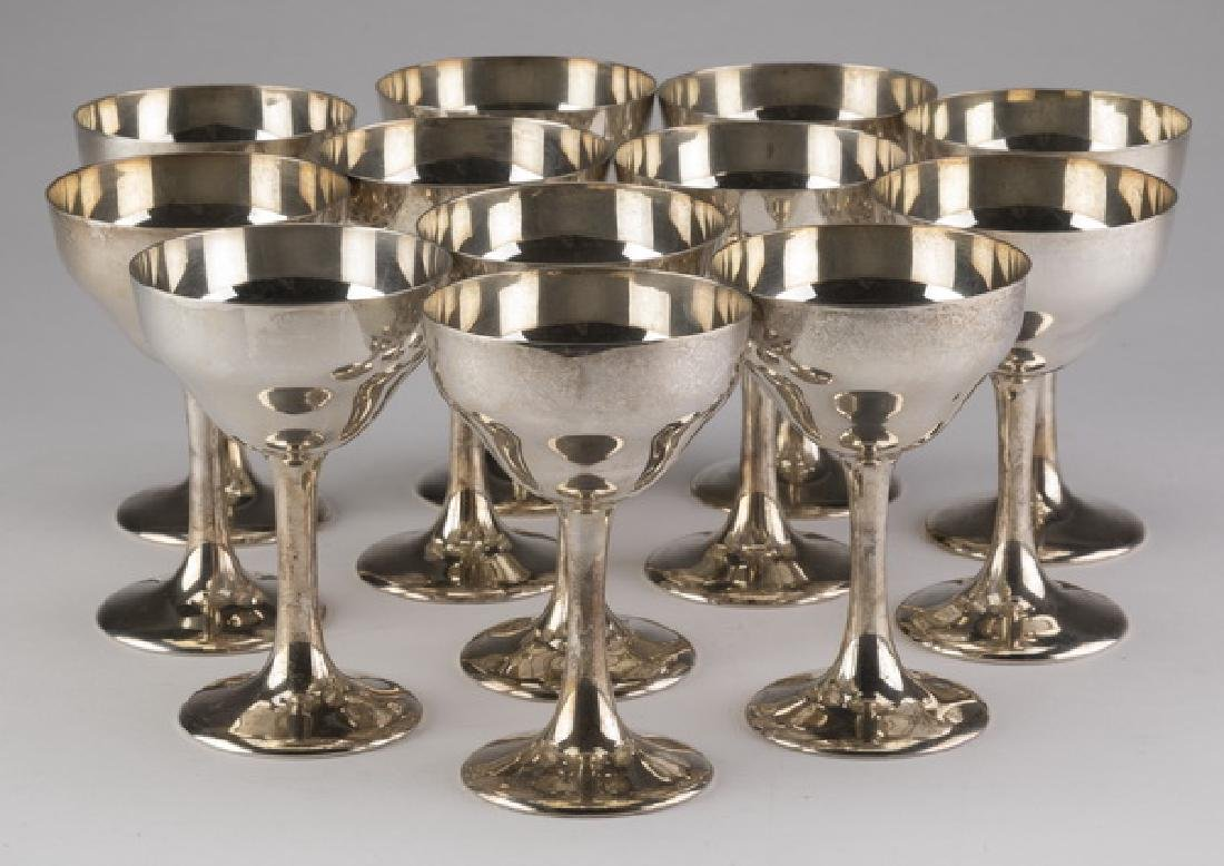 """(12) S. Kirk & Son sterling sherry goblets, 4""""h"""