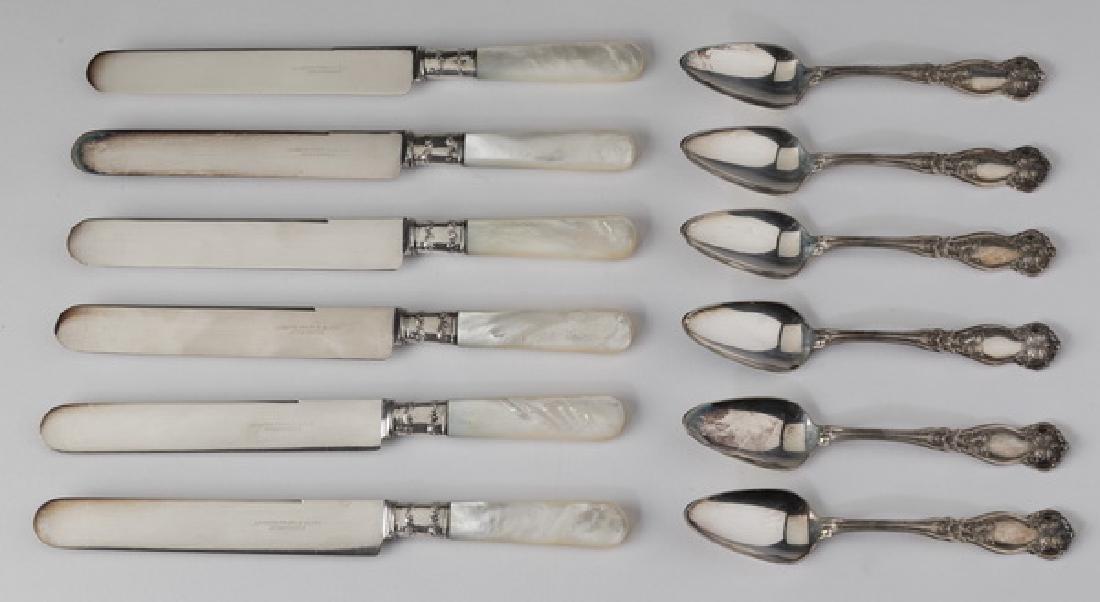 (12) Pcs sterling, MOP, & silverplate flatware