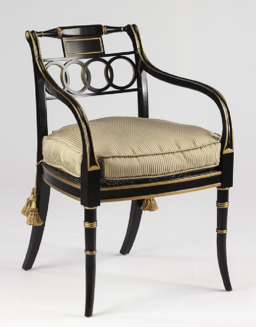 Empire style armchair with striped silk cushion