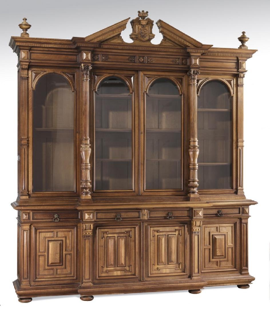 "19th c. French walnut architectural bookcase, 112""h"
