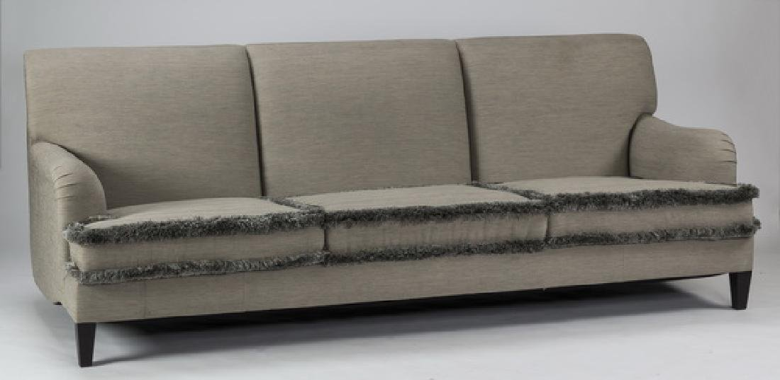"Like-new custom fabricated three seat sofa, 101""l"
