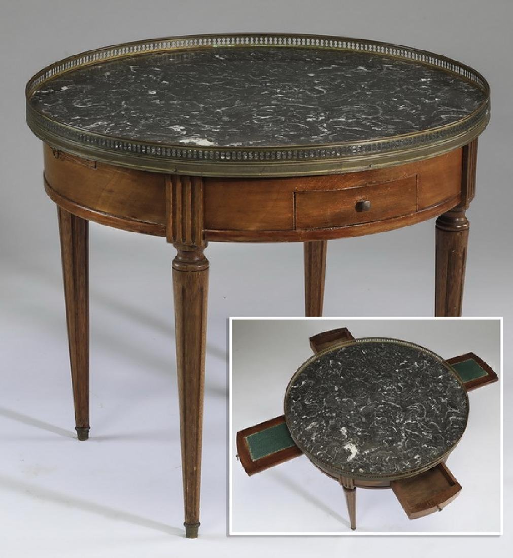 Early 20th c. French marble top table w/ drawers