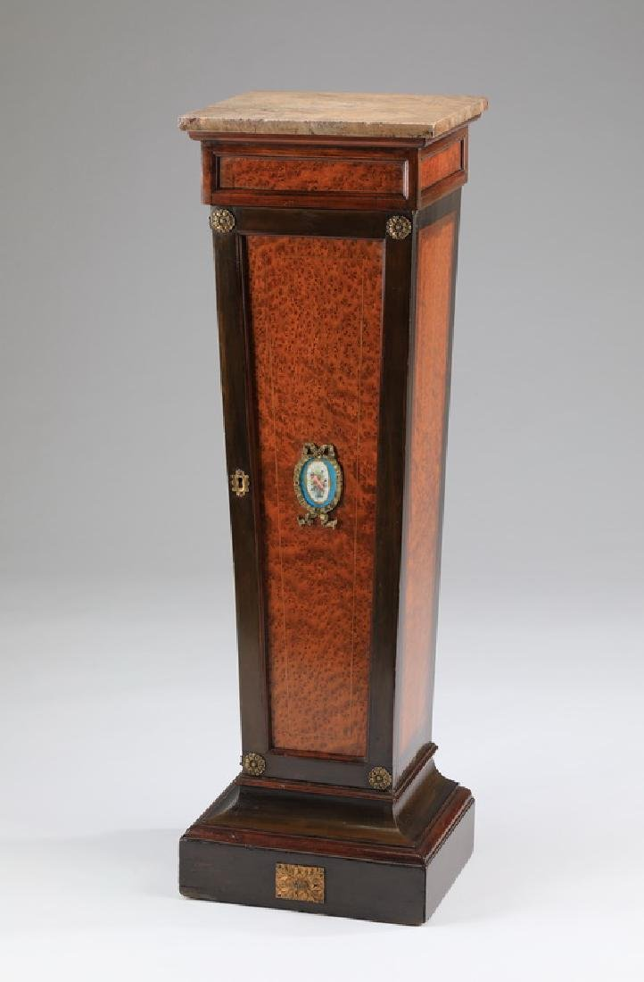 Birdseye maple storage pedestal w/ porcelain insert