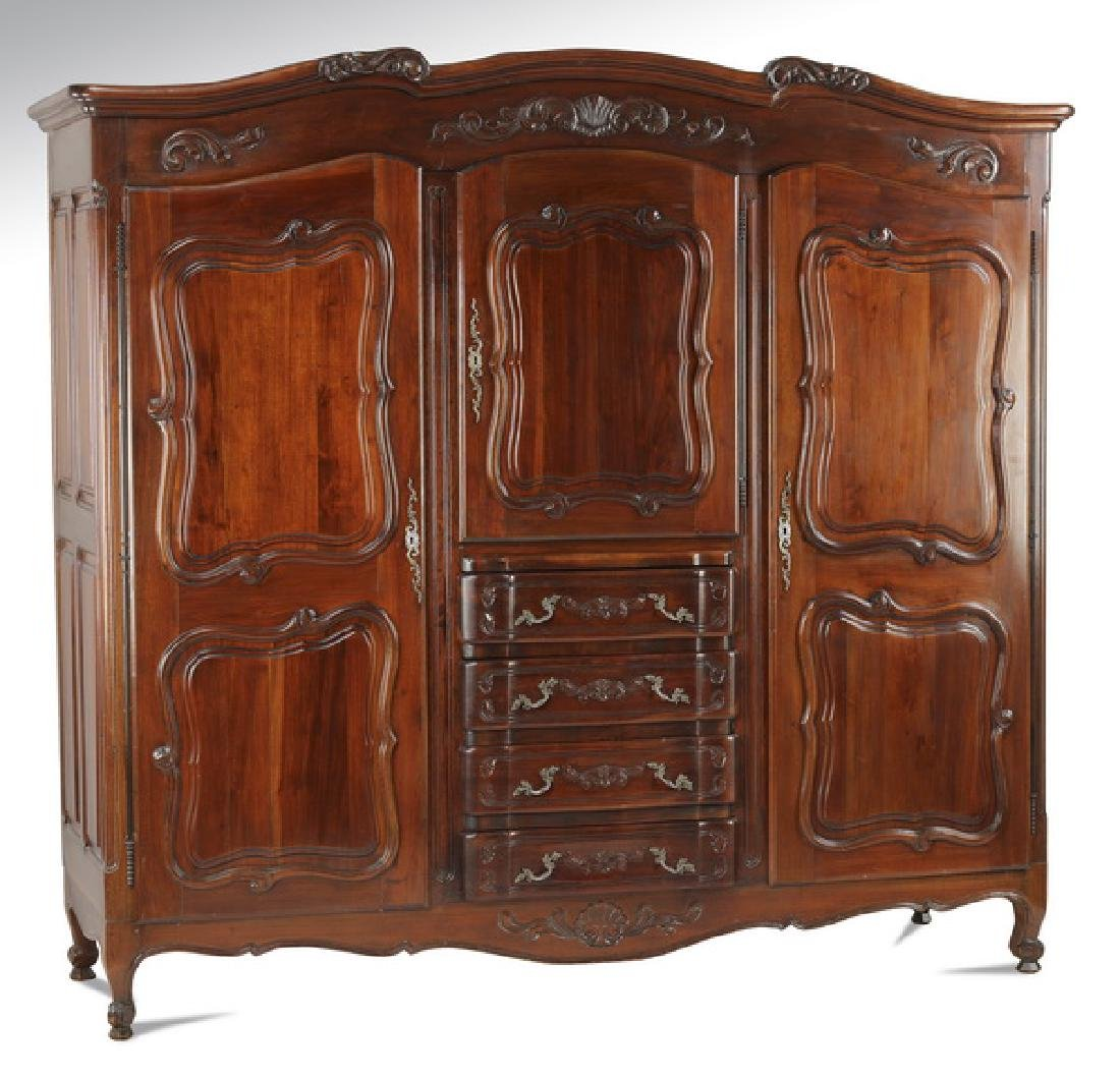 French Provincial style tripartite armoire