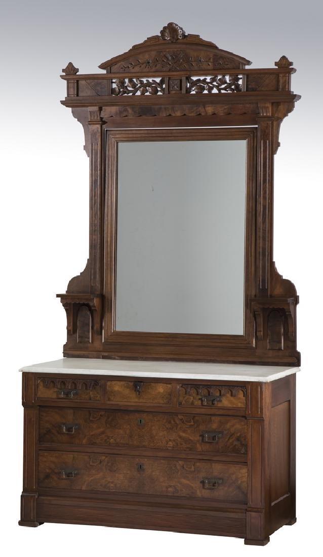 19th c. Eastlake mahogany marble top chest w/ mirror