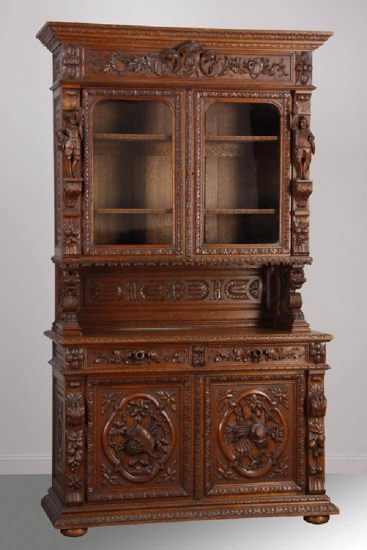 19th c. French carved oak buffet