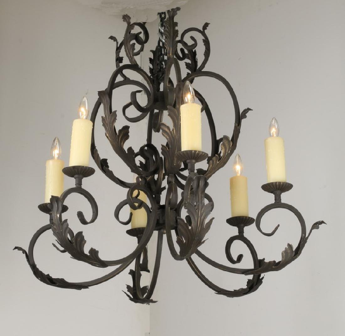 "Wrought iron 6-light chandelier, 30""h"