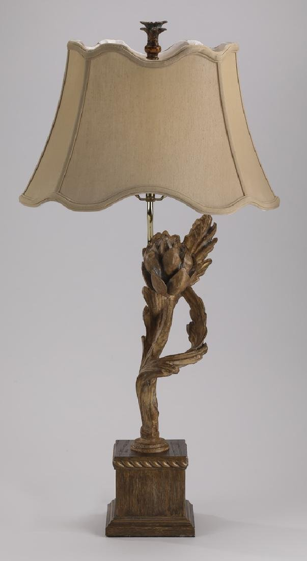 Contemporary carved wood artichoke lamp