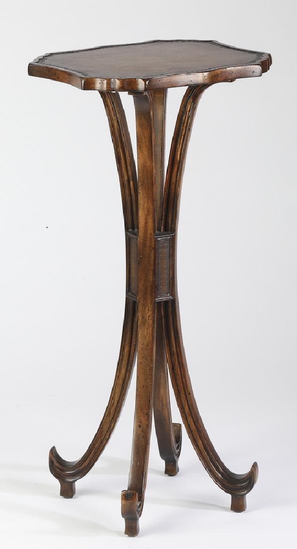 "John-Richard leather and mahogany side table, 30""h"
