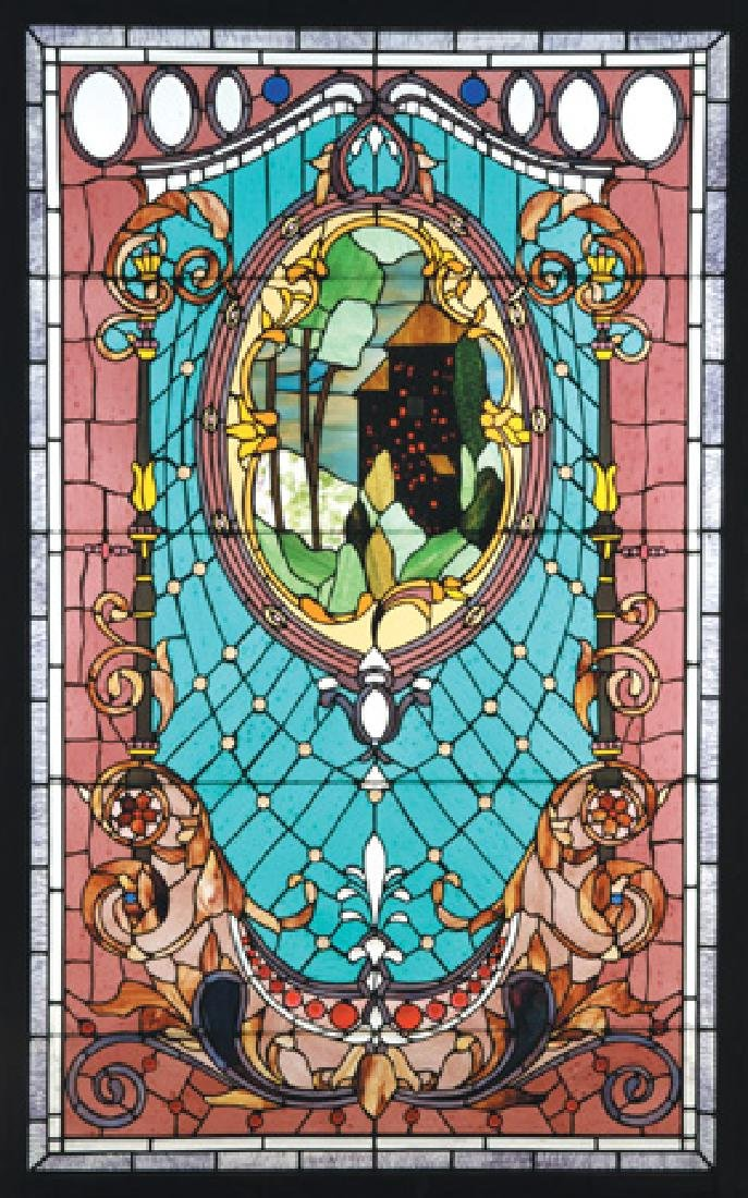"American art glass window by Roger Wandry, 88""h"