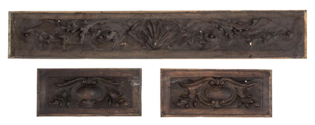 (3) 19th c .Rococo style carved architectural panels