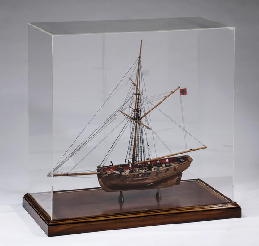 Model of naval cutter HMS 'Speedy', with display case