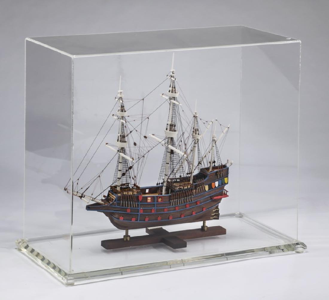 Model of a Spanish Galleon, with custom display case