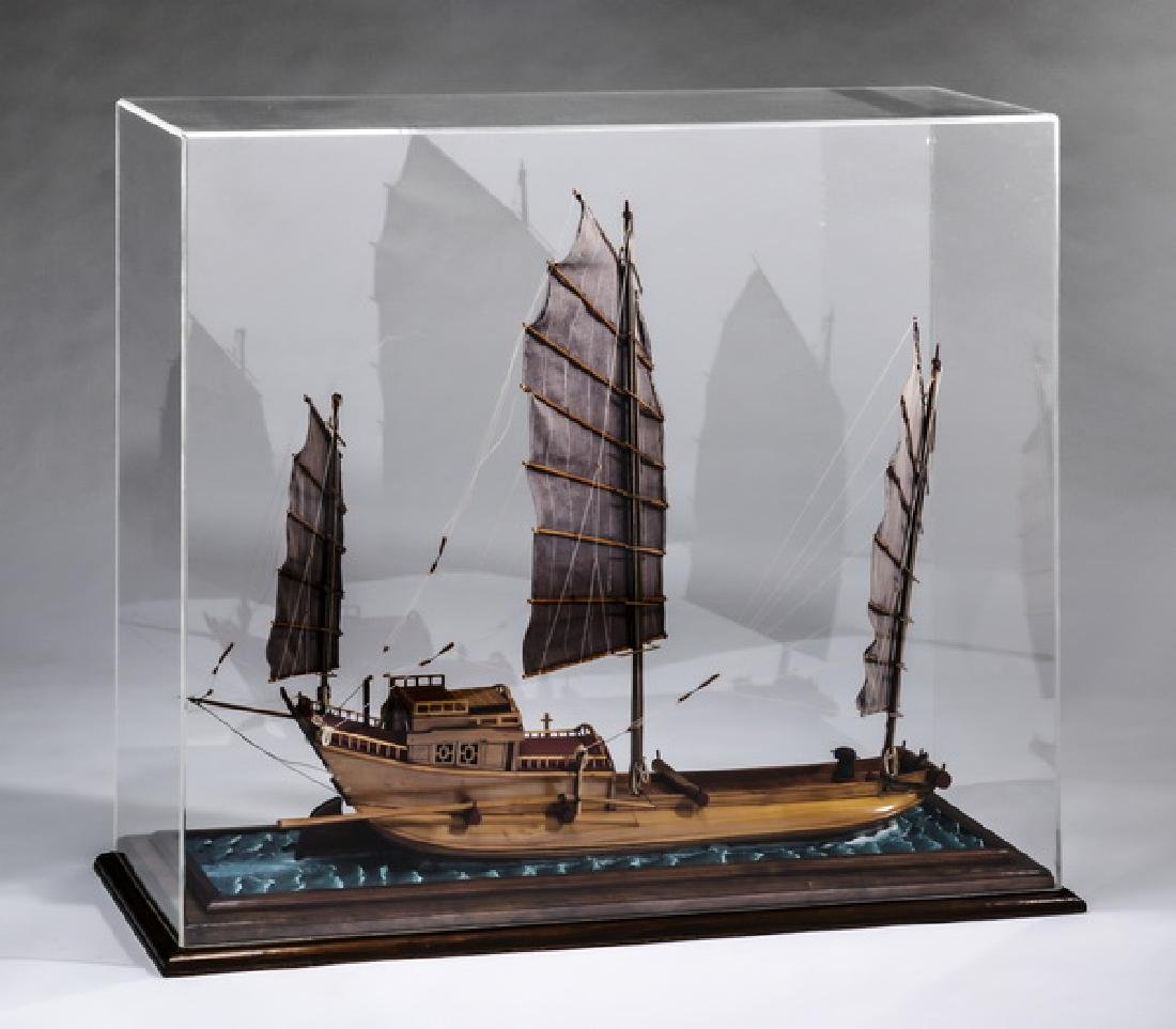 Model of a Chinese junk, with custom display case