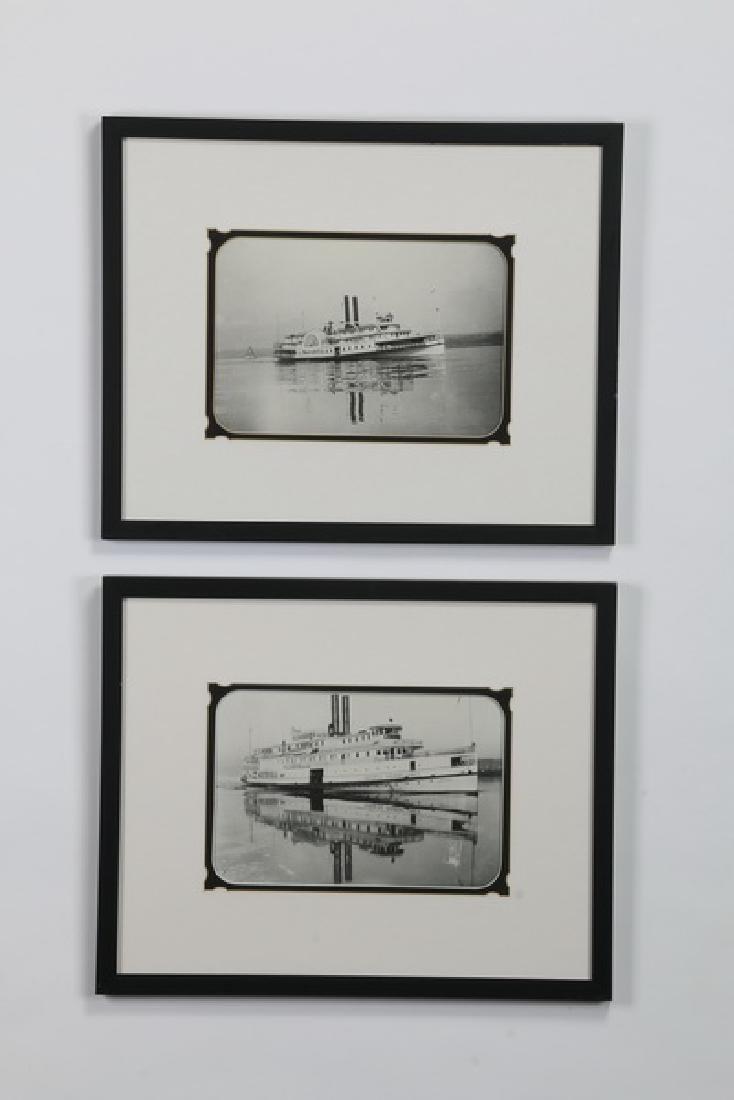 (2) Framed photos, Hudson River steamers