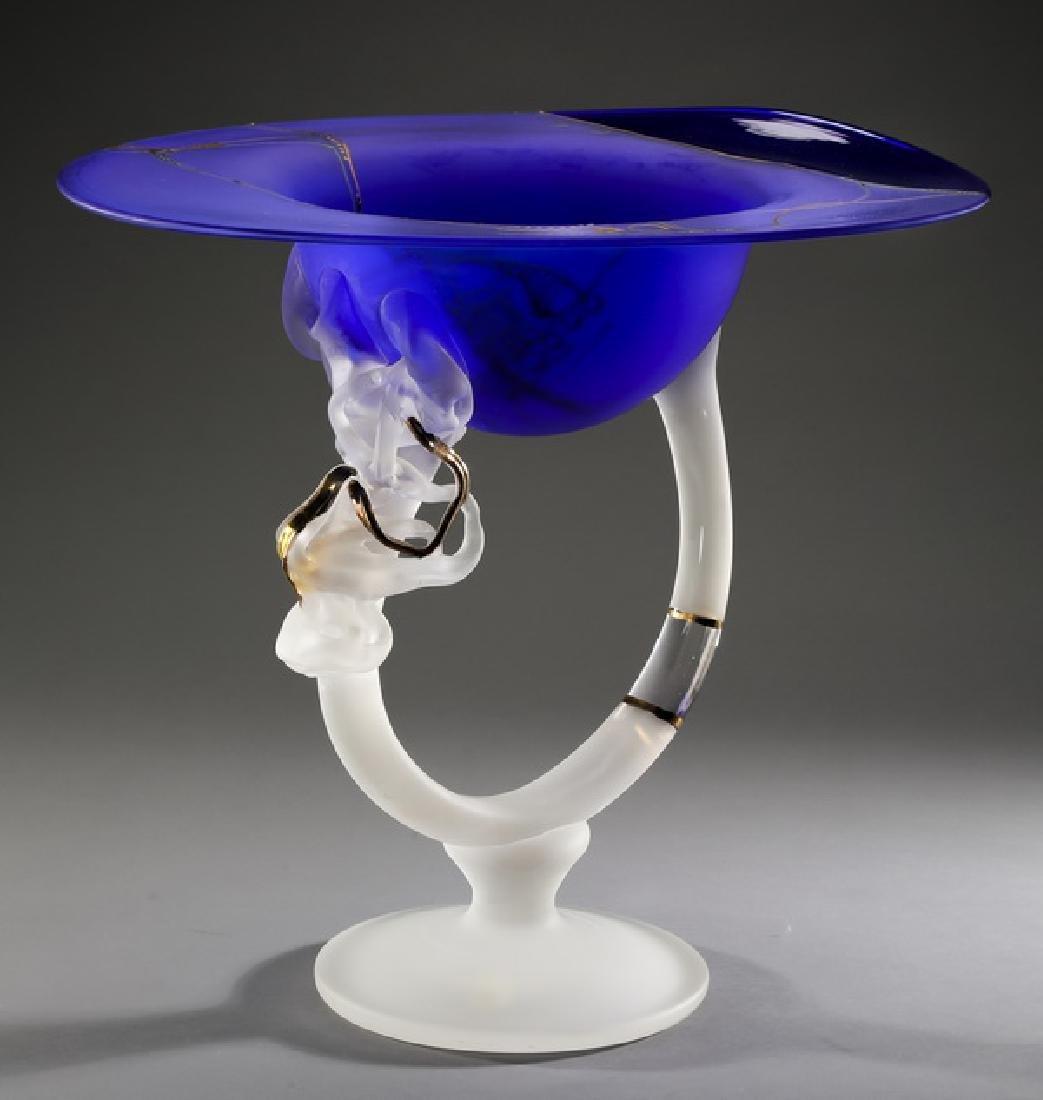 """Contemporary art glass centerpiece in cobalt, 14""""h"""