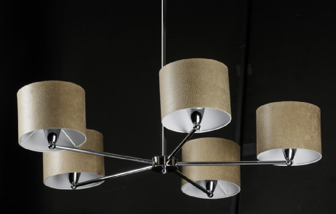 Contemporary chrome chandelier w/ beige print shades