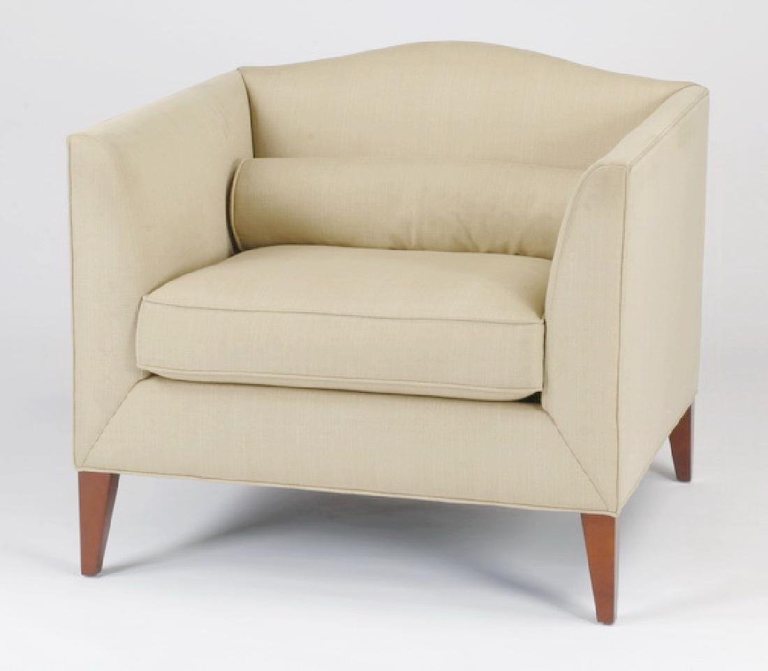 Baker Furniture upholstered tub chair in beige linen