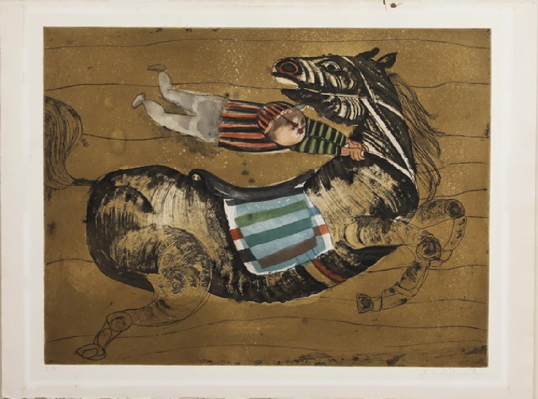 G. Rodo Boulanger signed lithograph of boy jockey