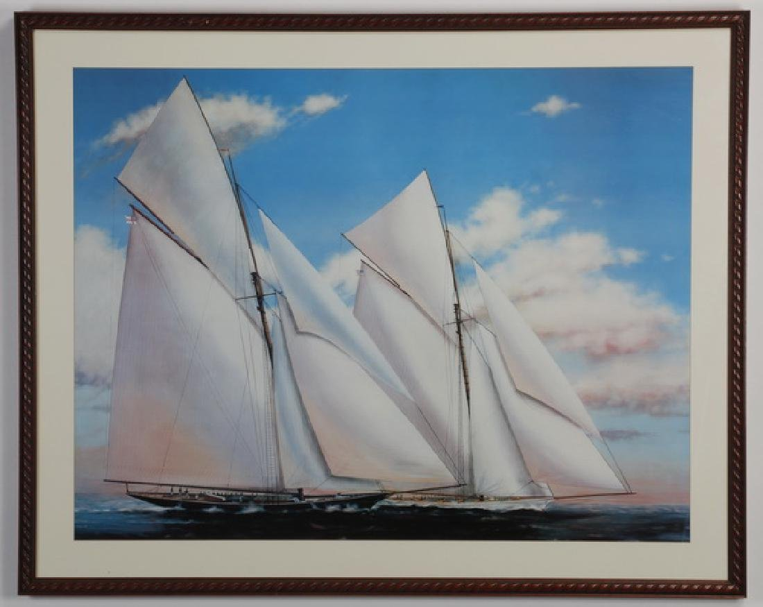 "Framed lithograph, sailing ships, 52""w"