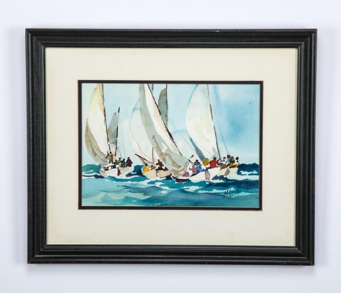 Jerry McClish signed watercolor of racing yachts