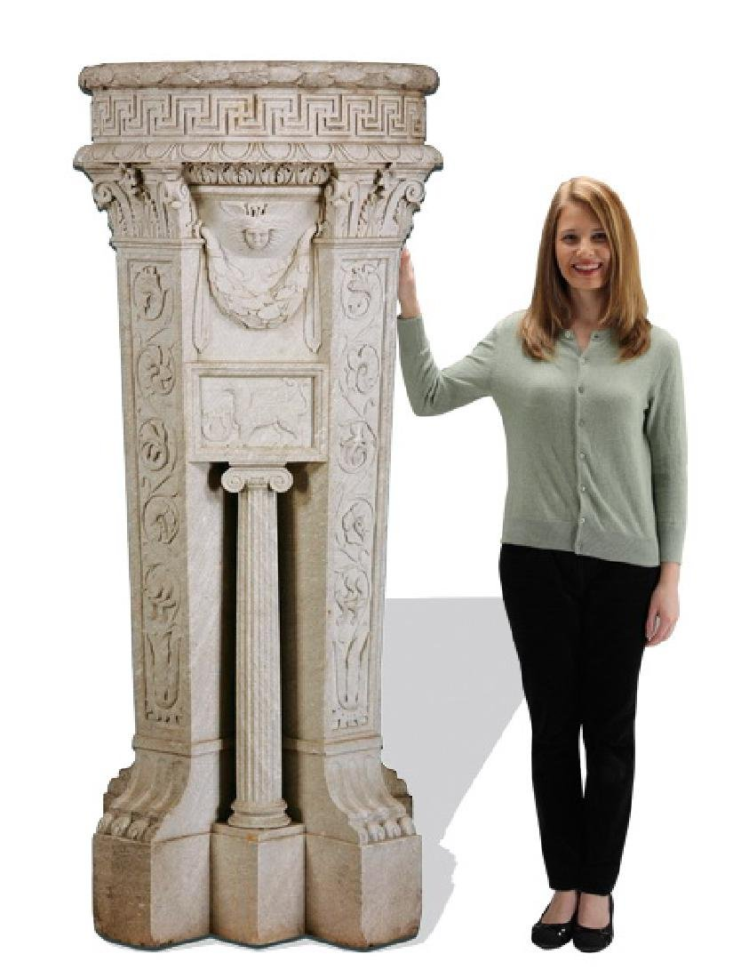 """Massive 19th c. carved marble planter, 68""""h"""