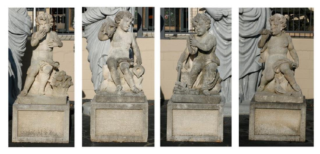 "(4) Italian carved limestone putti on bases, 66""h"