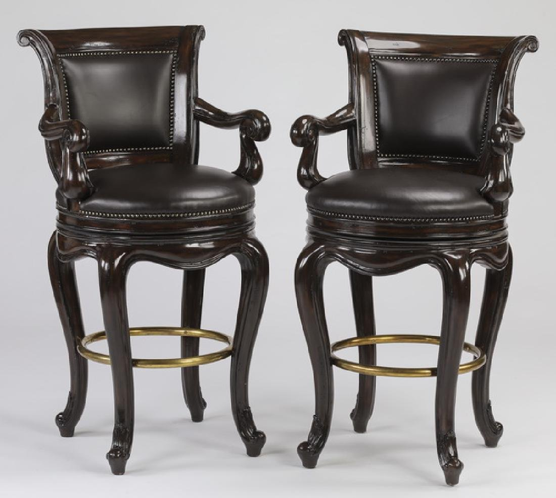 (2) Marge Carson leather swivel seat barstools