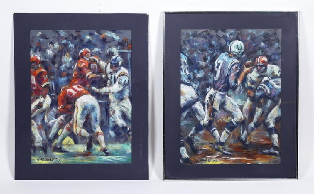 (2) Pastel drawings of Colts & 49ers in action