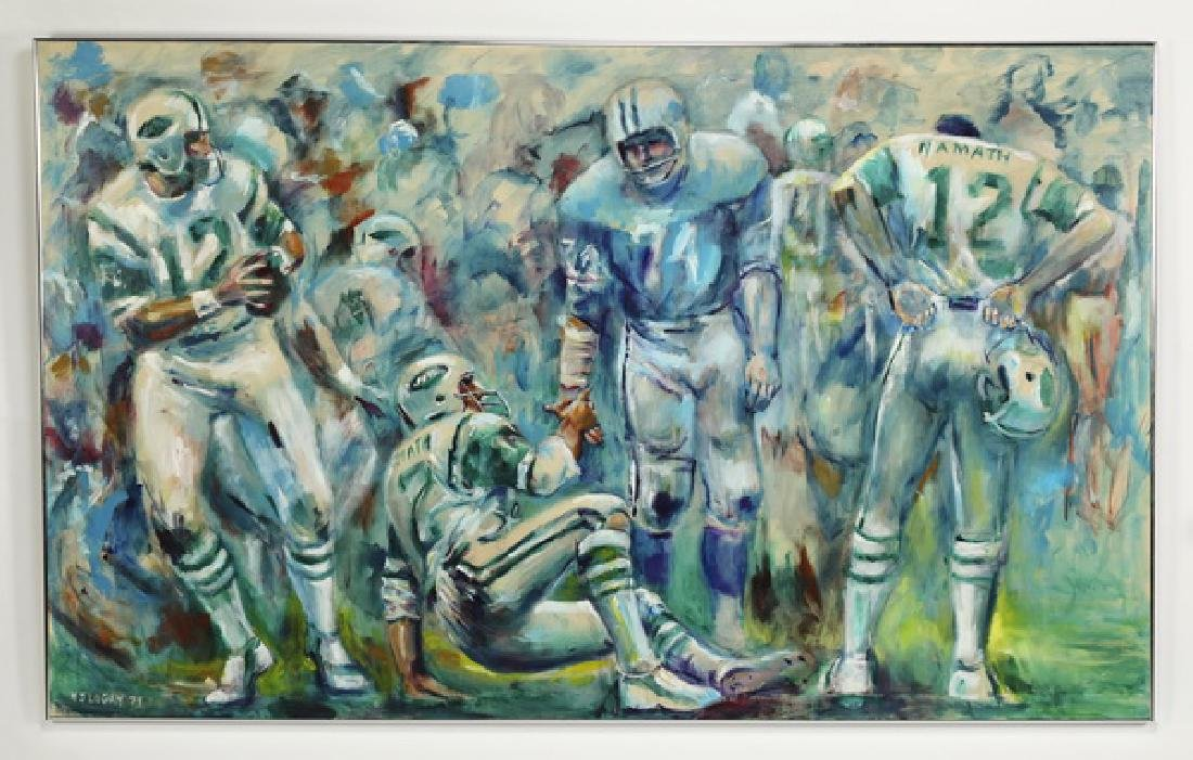 Monumental painting of Jets quarterback Joe Namath