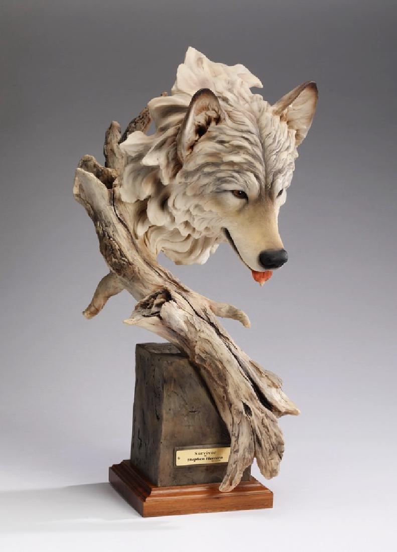 """Limited edition wolf sculpture, 'Survivor,' 22""""h"""