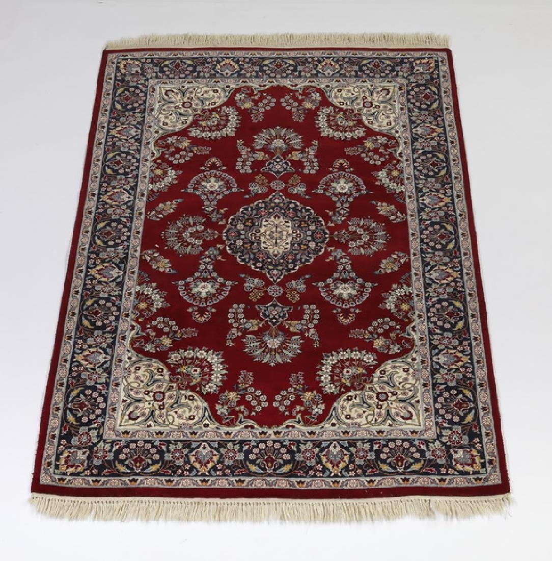 Hand knotted wool Indo-Tabriz rug, 7 x 5