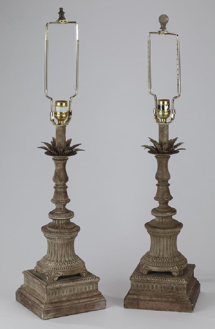 "Pair of contemporary table lamps, 30""h"