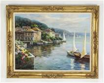 20th c. Continental style O/c of boats & villas
