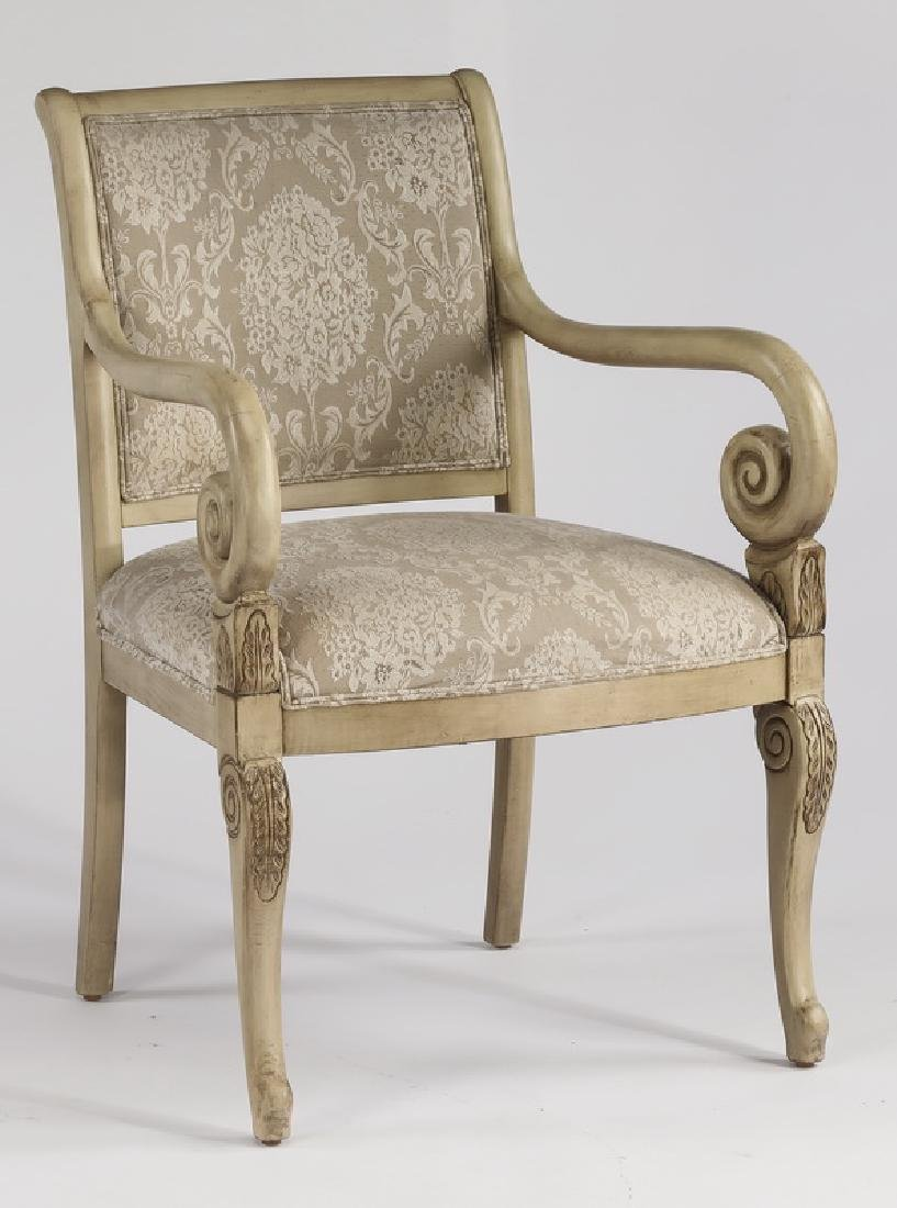 Neoclassical style armchair w/ tapestry like fabric