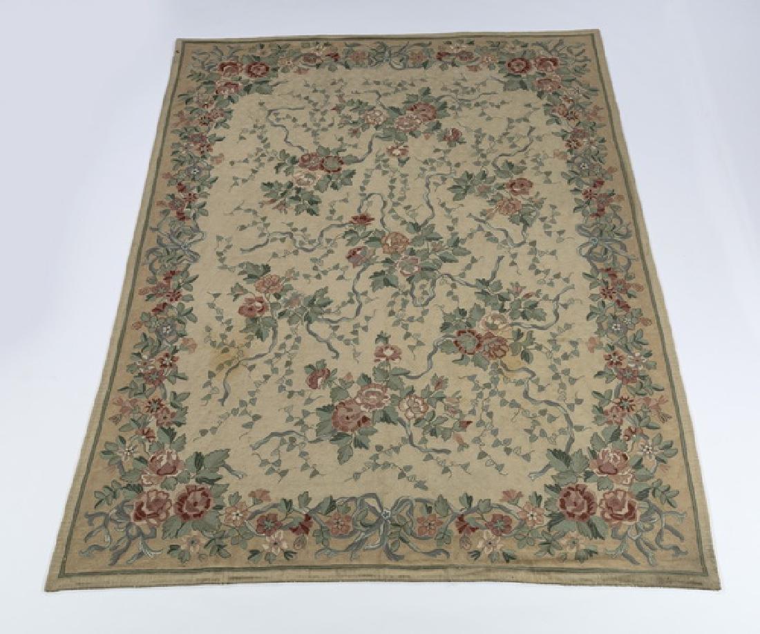 Wool floral needlepoint carpet, 8 x 11
