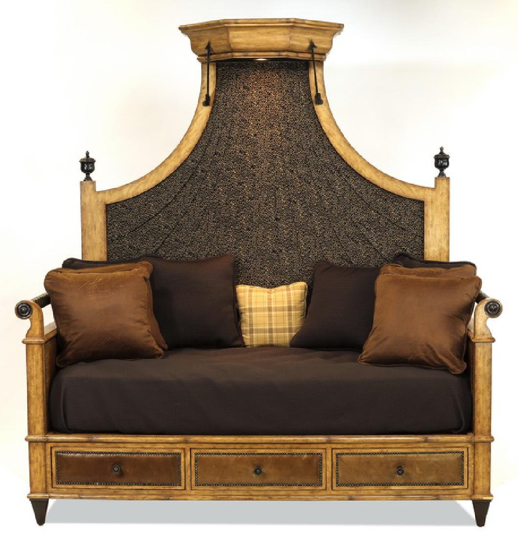 Maitland Smith 3-drawer daybed w/ leopard print back