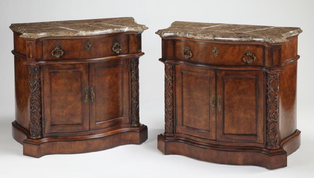 (2) Henredon oversized marble top nightstands