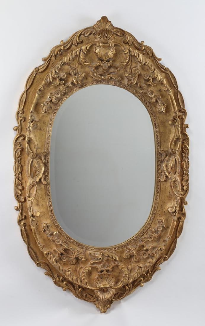 "Oval gilt floral wall mirror, 64""h"