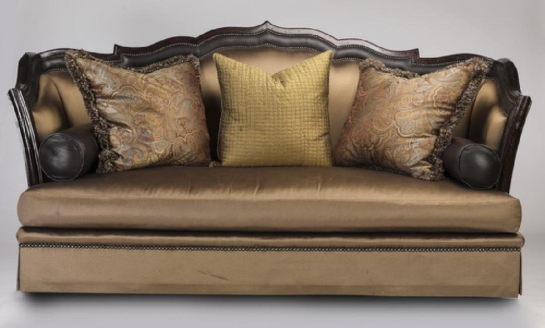 """Marge Carson silk upholstered 'Lizette' sofa, 100""""w"""